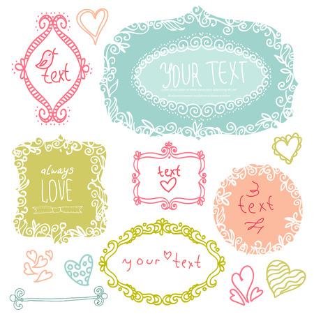 doodle label, hand drawn design elment Vettoriali