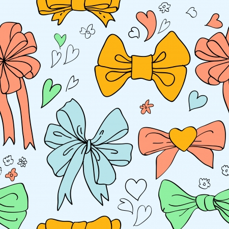 Bow set hand drawn with label. Colorful vector doodle illustration for girls. Stock Vector - 24232960