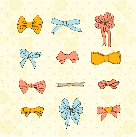 Bow set hand drawn with label. Colorful vector doodle illustration for girls. Stock Vector - 24232962