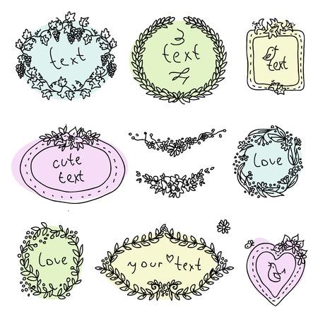 doodle label, hand drawn design elment 일러스트