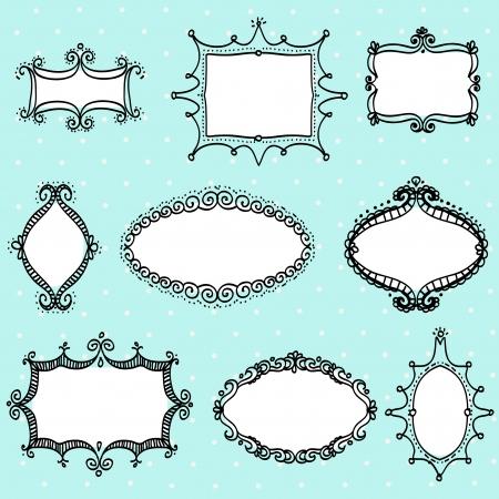 doodle label, hand drawn design elment Vector