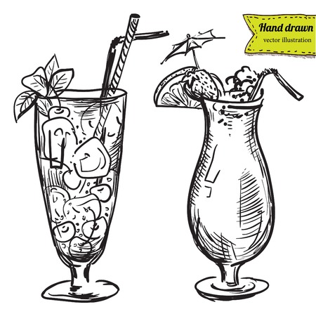 Hand drawn illustration of cocktail Vectores