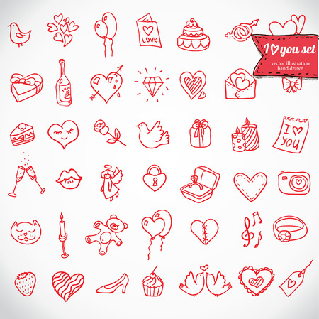 I love you doodle icon set isolated