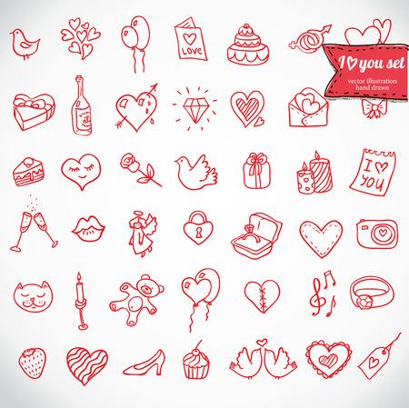 romance: I love you doodle icon set isolated