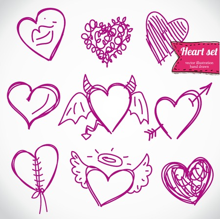 I love you doodle icon set isolated Stock Vector - 24632106