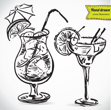 Hand drawn illustration of cocktail.. Vector collection in sketch. Vettoriali