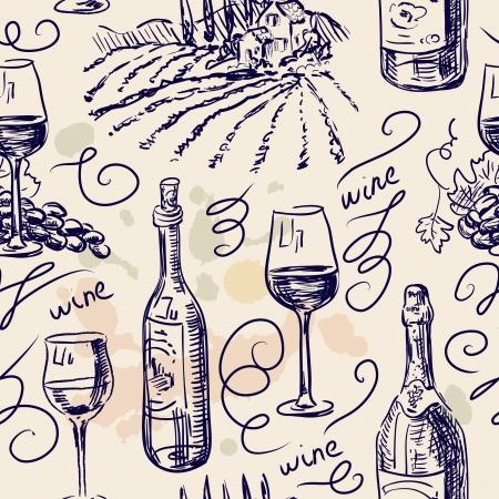 barrels set: Hand drawn pattern- wine and winemaking- chalkboard