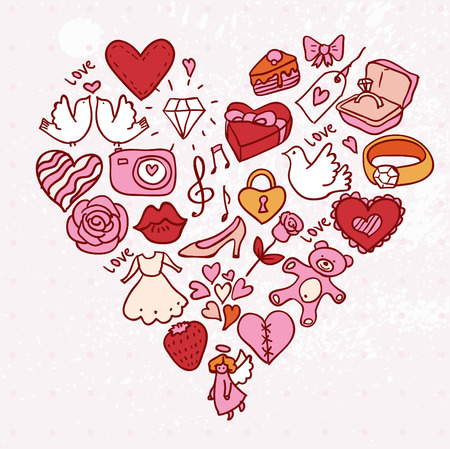 I love you doodle heart card, illustration hand drawn Vector