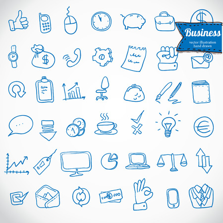 doodle office, business icons set, vector Illustration