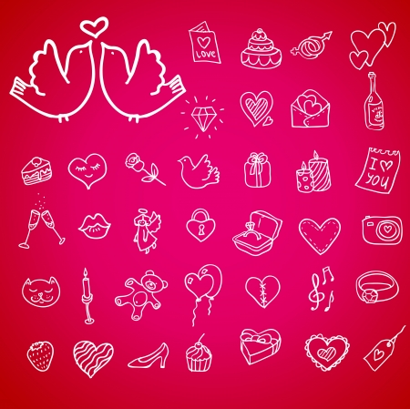 I love you doodle icon set isolated, vector illustration hand drawn Vector