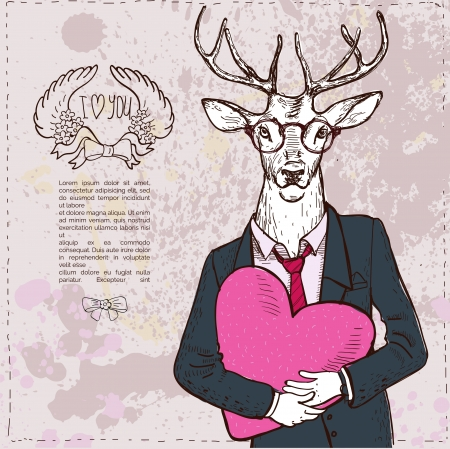 Vintage-Hipster Fashion Deer Illustration Vector