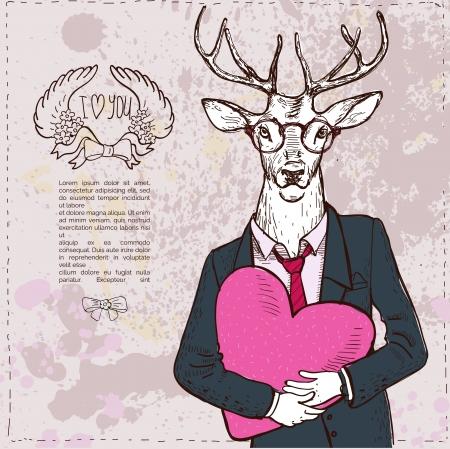 Vintage-Hipster Fashion Deer Illustration