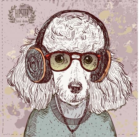 Illustrazione d'epoca di pantaloni a vita bassa barboncino con gli occhiali, cuffie e fiocco in vettoriale su vintage Archivio Fotografico - 24929200