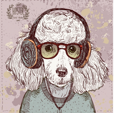 animal eye: Illustrazione d'epoca di pantaloni a vita bassa barboncino con gli occhiali, cuffie e fiocco in vettoriale su vintage Vettoriali