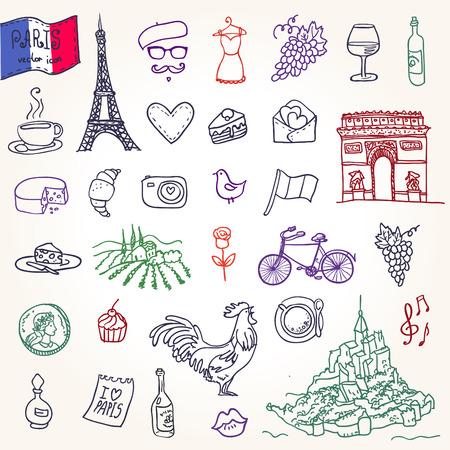 francia: S�mbolos de Francia como garabatos de funky Vectores