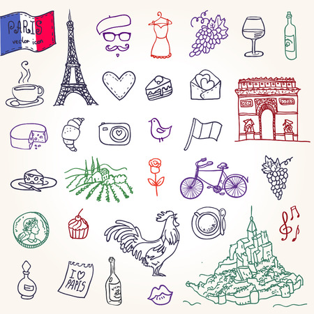 Symbols of France as funky doodles Vector