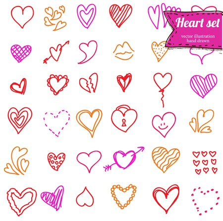 Heart doodle set