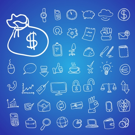 doodle office, business icons set, vector Vector