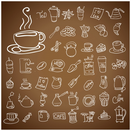 Coffee and Tea doodle icon set.Illustration  Vector