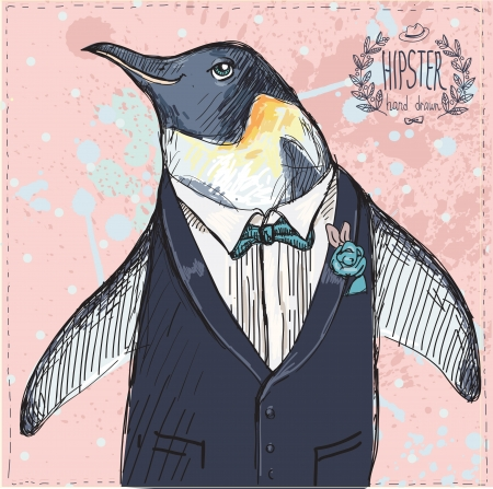 Vector Illustration of two Funny Penguins dressed in Retro Style Isolated on geometric background Vector