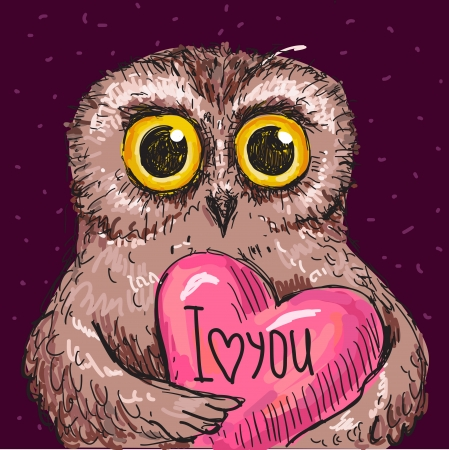 Vector Illustration of owl in love, I love you card