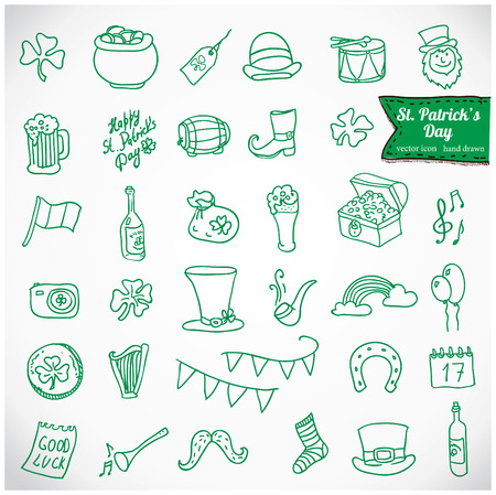 St. Patricks Day Vector Icons Vector