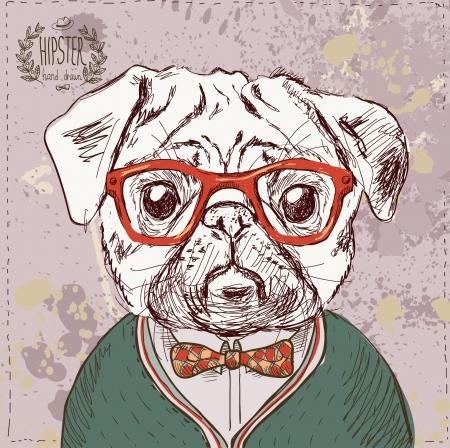 Illustrazione d'epoca di cane pug pantaloni a vita bassa con gli occhiali e fiocco in vettoriale su sfondo vintage Archivio Fotografico - 25319179