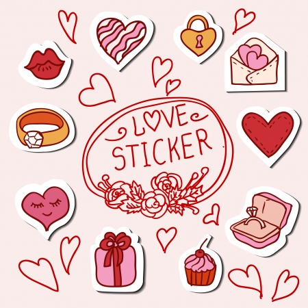 I love you doodle icon set isolated, vector illustration hand drawn Stock Vector - 25319180