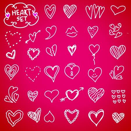 hand drawn flower: Heart doodle set