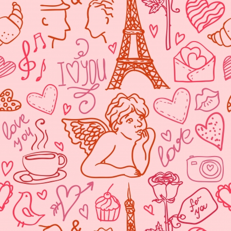 love in Paris seamless pattern Vector