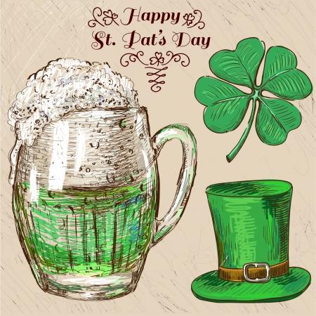 St. Patricks Day set. Hand drawn illustrations Vector
