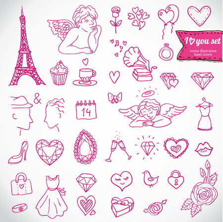 heart broken: I love you doodle icon set isolated, vector illustration hand drawn