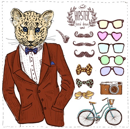 leopard: Hipster deer in suit hand drawn, sketchy vector illustration in vintage style, create your own der with different glasses, mustache, bow, bike, bike isolated Illustration