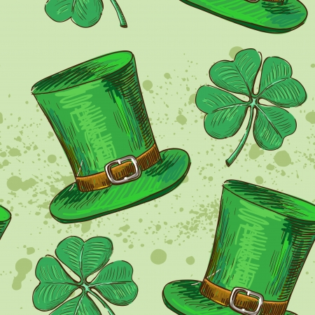 Seamless pattern.Doodle style four leaf clover, luck, or St. Patricks Day vector illustration