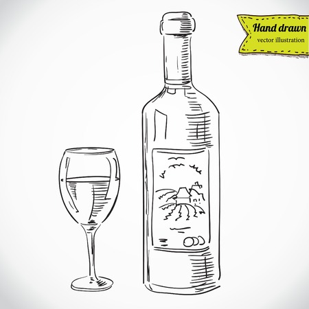 Glass of wine and a bottle, vector sketchy illustration isolated, hand - drawn Vectores