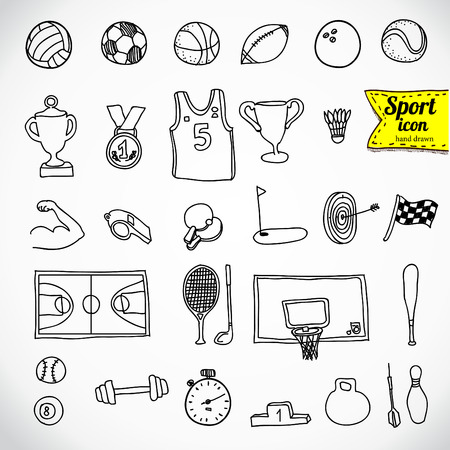 Doodle sports icon. illustration.