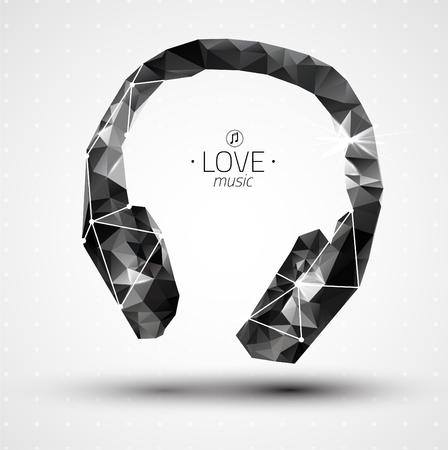 auriculares dj: Icono de vector de concepto abstracto creativo de auriculares para aplicaciones Web y móviles aislados en el fondo. Ilustración del vector plantilla de diseño, infografía negocios y los medios sociales, los iconos de origami.