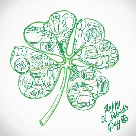 fourleaf: St. Patricks greeting card. St. Patricks day with clover. Illustration