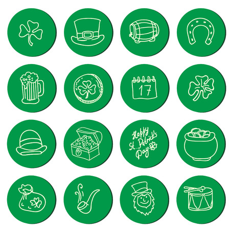 St. Patrick's Day Icons, hand drawn design element: beer, hat, ale, calendar, cauldron, clover, leprechaun, camera, mustache, bottle, horseshoe, money, boot, drum Vector