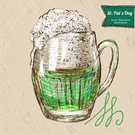 green beer: Green Saint Patricks Day greeting card with pint of green beer. Raster illustration. version also exist.