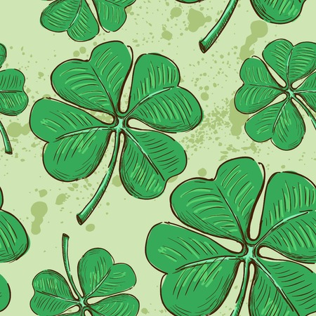 Seamless pattern.Doodle style four leaf clover, luck, or St. Patricks Day illustration Illustration