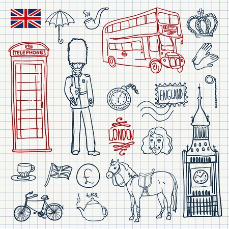 jack plane: England elements set Illustration