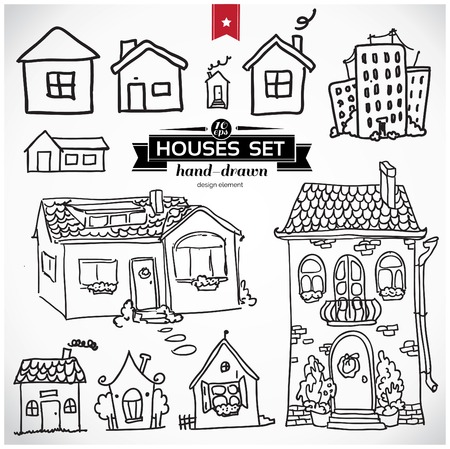 house sketch: Sketch set of houses in doodle style