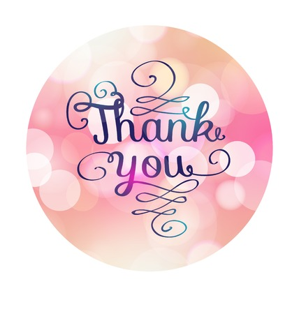 Thank you card on soft colorful background Ilustração