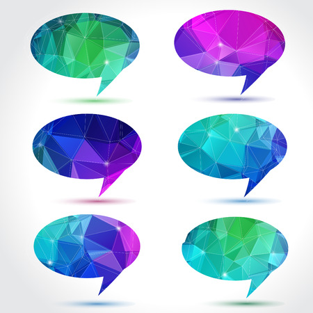 Set of abstract speech balloons or talk bubbles of crystal glass pattern