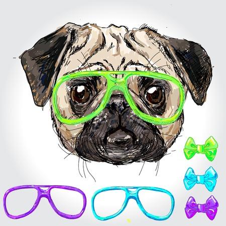 illustrazione uomo: Illustrazione d'epoca di cucciolo di pantaloni a vita bassa pug con diversi bicchieri