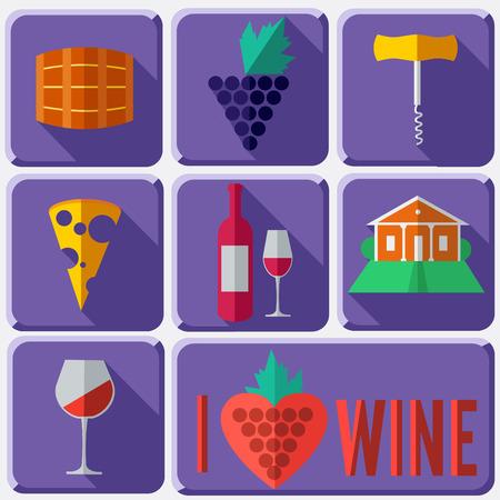 wine trade: Illustration of Wine in Flat Design Style