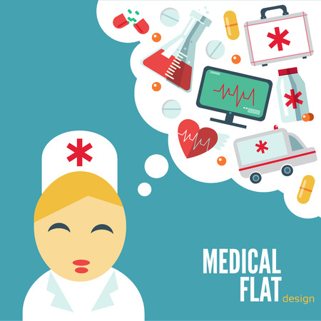clinical thermometer: Trendy card with flat medical icons Illustration