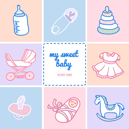 good s: Set of colorful flat icons about baby goods