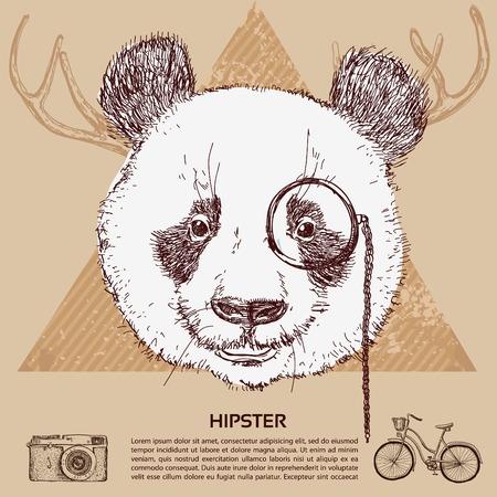 Vintage illustration of hipster panda with glasses